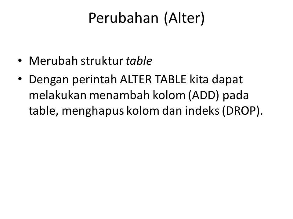Perubahan (Alter) Merubah struktur table Dengan perintah ALTER TABLE kita dapat melakukan menambah kolom (ADD) pada table, menghapus kolom dan indeks