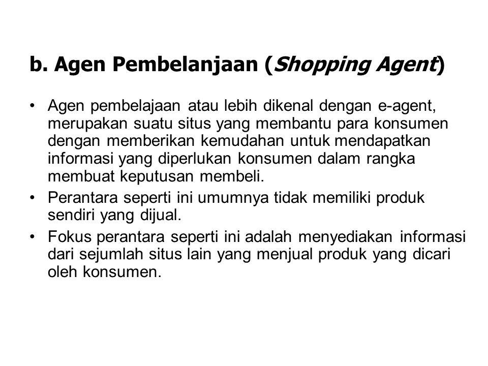 a. Penjual Bersindikat (Syndicated Seller) Penjual bersindikat adalah sebuah situs yang menawarkan hubungan kepada konsumen ke web lain dan atas jasa