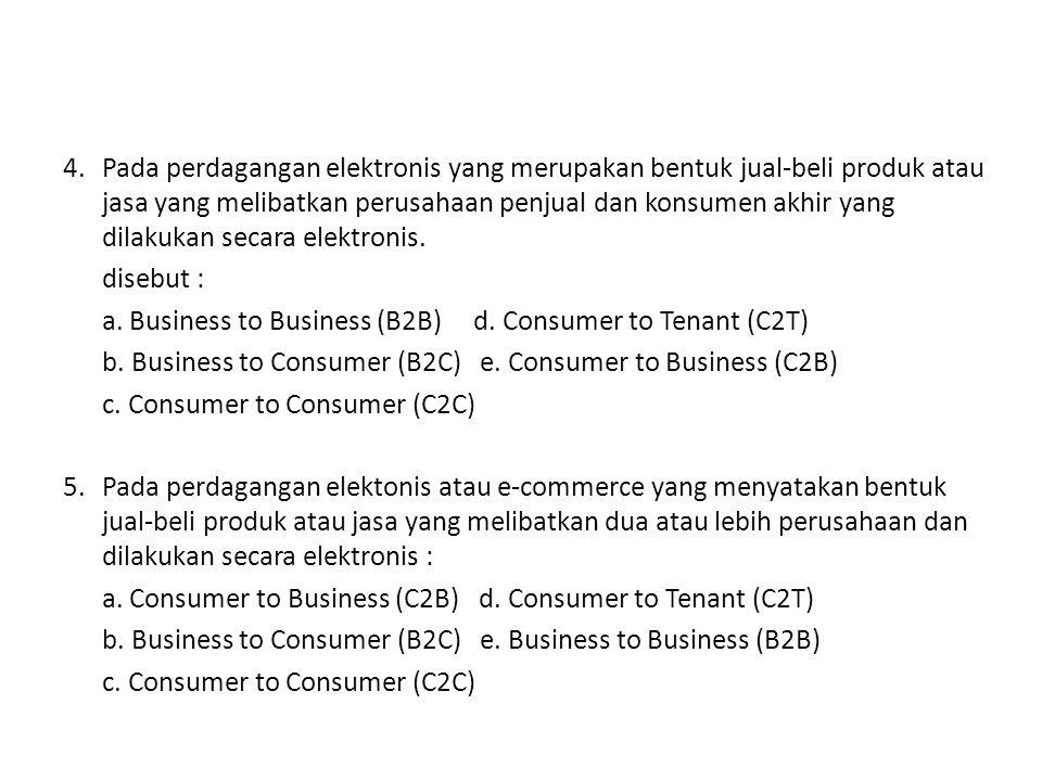 3. Pada perdagangan elektronis yang model perdagangan yang terjadi antara konsumen dengan konsumen dan memungkinkan orang-orang dapat menjual atau mem