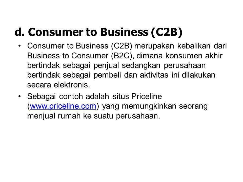 c. Consumer to Consumer (C2C) Consumer to Consumer (C2C) atau bisa juga disebut Person to Person, adalah model perdagangan yang terjadi antar konsumen