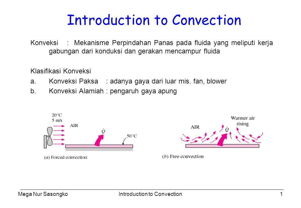 Mega Nur SasongkoIntroduction to Convection2 Mekanisme Fisik Konveksi No Aliran Konduksi Ada Aliran Konveksi Perpan antara 2 plat sejajar Pendinginan besi dengan fan Perpan Konveksi Tergantung dari : 1.Fluid Properties : V, k,  Cp, L 2.Geometri dan kekasaran benda 3.Type Aliran (laminer/turbulen) Konveksi : The most complex mechanism??.
