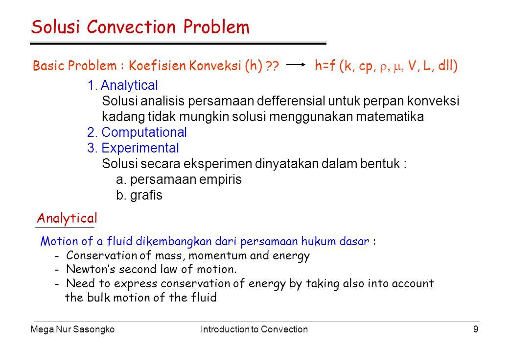Mega Nur SasongkoIntroduction to Convection10 Eksperimental Data Eksperimen convection heat transfer biasanya dinyatakan dalam bentuk Non- Dimensional parameter : Dimana m dan n adalah konstanta eksponen ( antara 0 – 1 ) dan konstanta C tergantung dari bentuk geometri dan aliran Bentuk yang lebih kompleks lebih akurat.