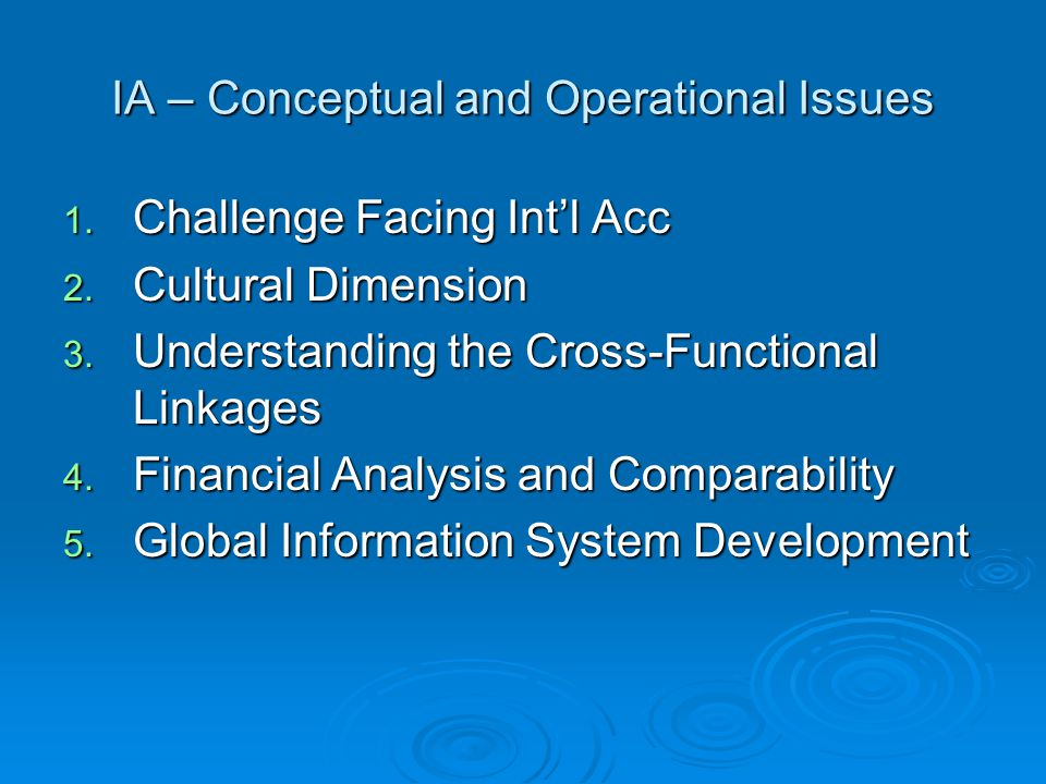 IA – Conceptual and Operational Issues 1. Challenge Facing Int'l Acc 2.