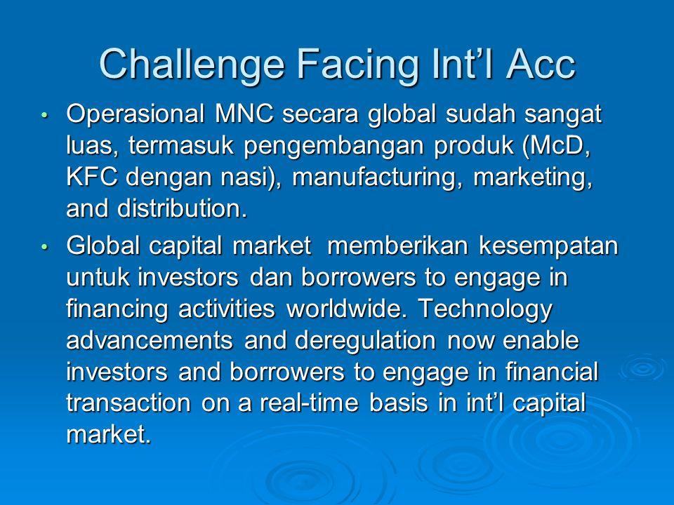 Challenge Facing Int'l Acc Operasional MNC secara global sudah sangat luas, termasuk pengembangan produk (McD, KFC dengan nasi), manufacturing, marketing, and distribution.