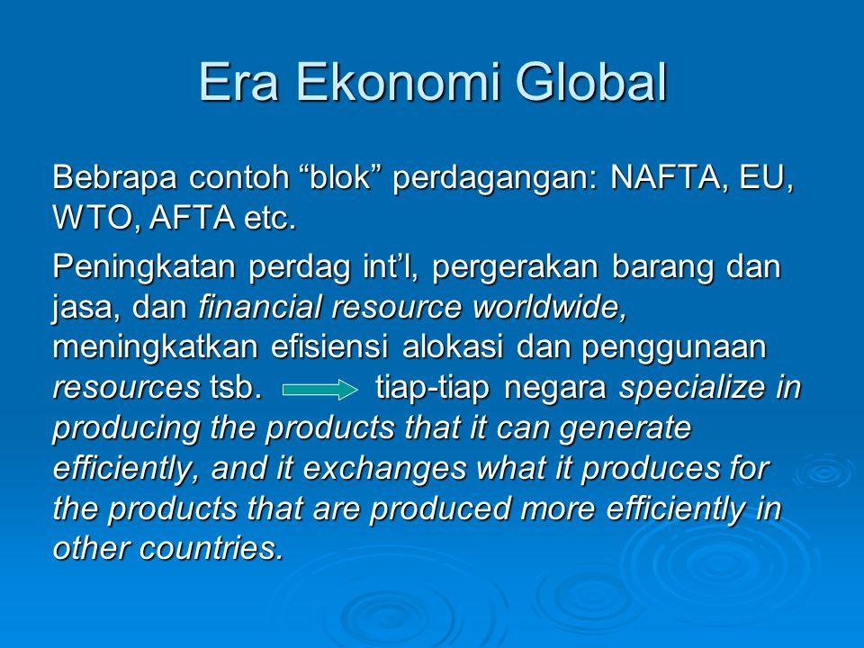 Era Ekonomi Global Bebrapa contoh blok perdagangan: NAFTA, EU, WTO, AFTA etc.