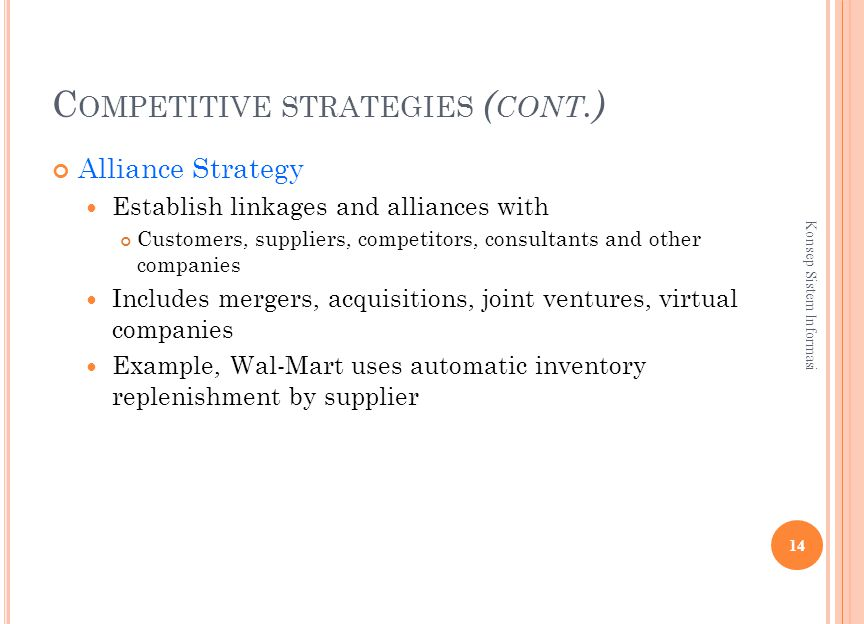 C OMPETITIVE STRATEGIES ( CONT.) Alliance Strategy Establish linkages and alliances with Customers, suppliers, competitors, consultants and other companies Includes mergers, acquisitions, joint ventures, virtual companies Example, Wal-Mart uses automatic inventory replenishment by supplier 14 Konsep Sistem Informasi