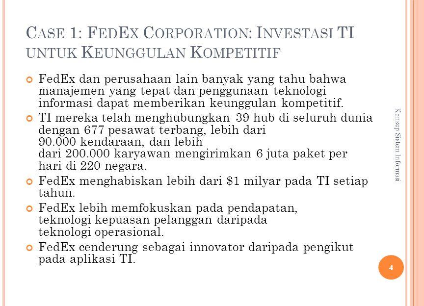 C ASE 1: F ED E X C ORPORATION : I NVESTASI TI UNTUK K EUNGGULAN K OMPETITIF FedEx dan perusahaan lain banyak yang tahu bahwa manajemen yang tepat dan penggunaan teknologi informasi dapat memberikan keunggulan kompetitif.