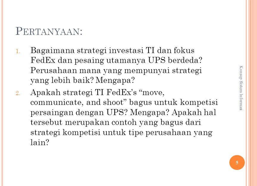 P ERTANYAAN : 1. Bagaimana strategi investasi TI dan fokus FedEx dan pesaing utamanya UPS berdeda.