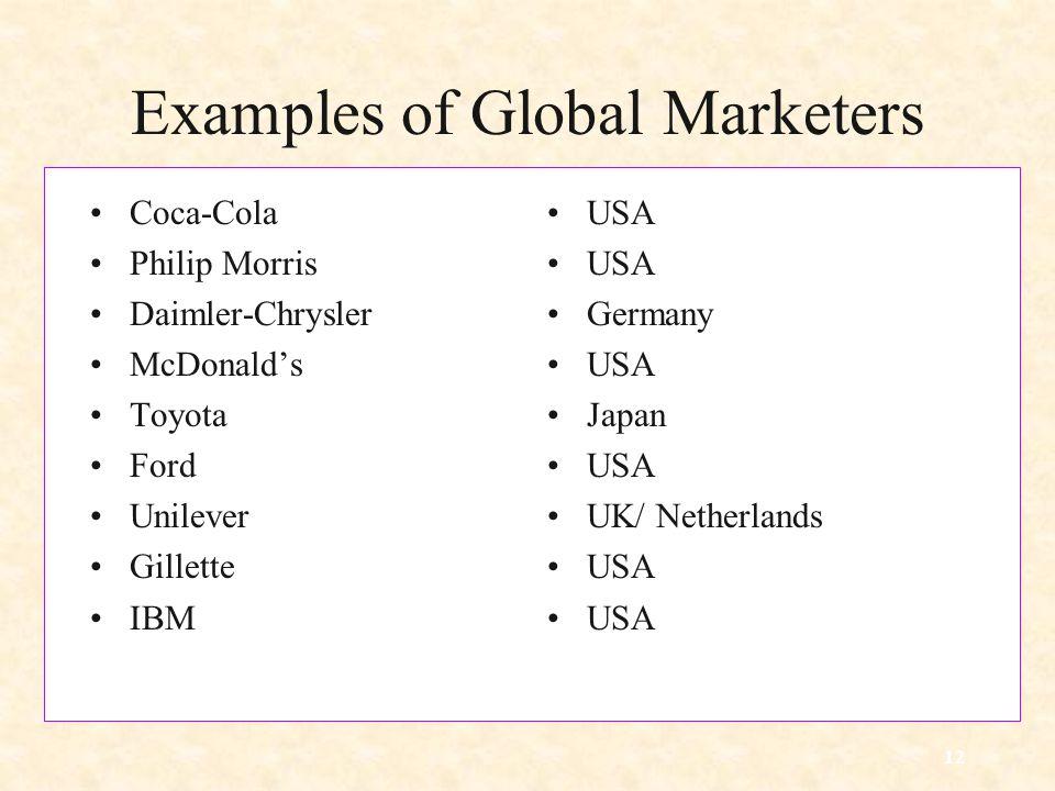 12 Examples of Global Marketers Coca-Cola Philip Morris Daimler-Chrysler McDonald's Toyota Ford Unilever Gillette IBM USA Germany USA Japan USA UK/ Netherlands USA