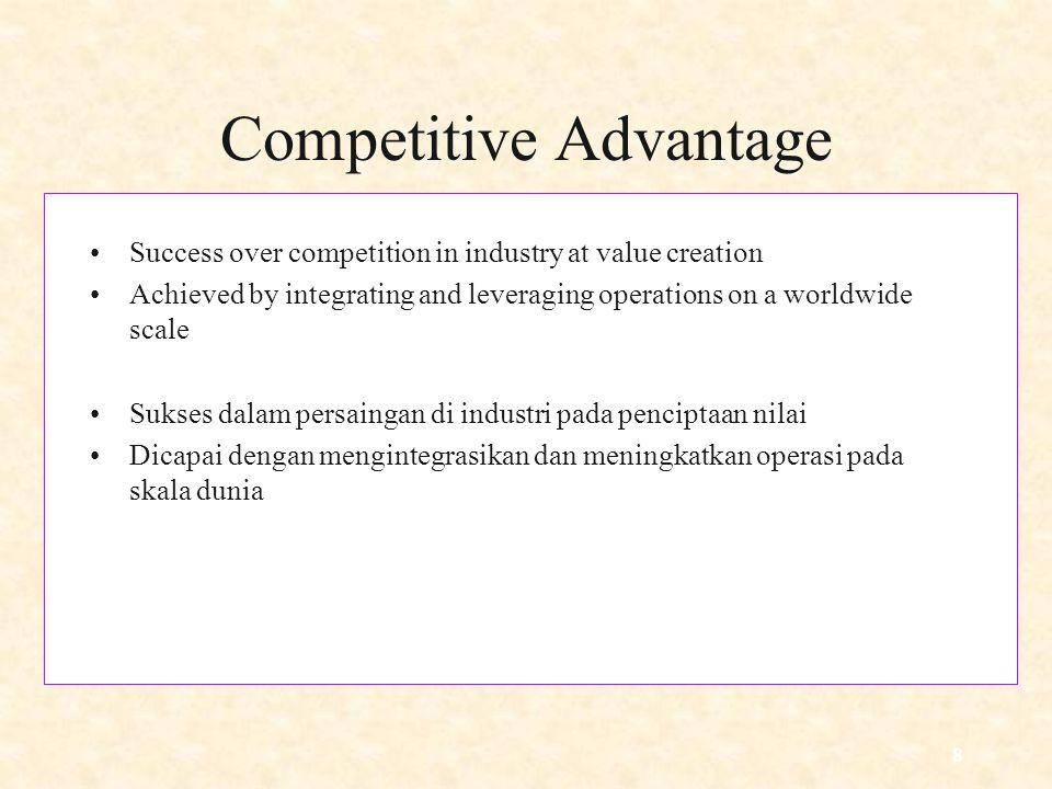8 Competitive Advantage Success over competition in industry at value creation Achieved by integrating and leveraging operations on a worldwide scale Sukses dalam persaingan di industri pada penciptaan nilai Dicapai dengan mengintegrasikan dan meningkatkan operasi pada skala dunia