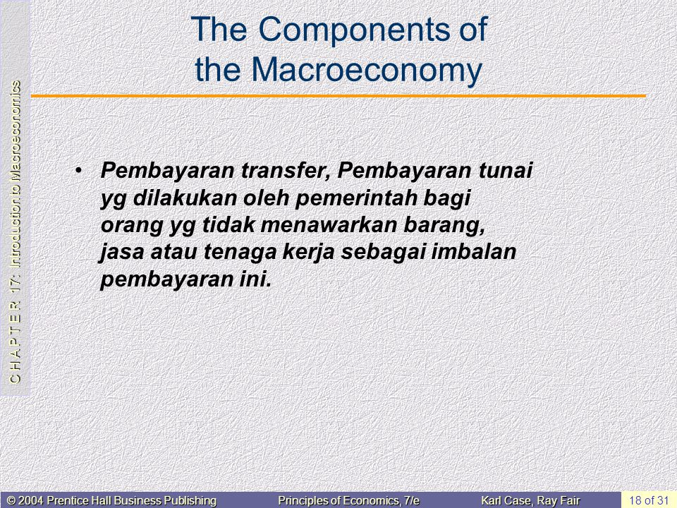 C H A P T E R 17: Introduction to Macroeconomics © 2004 Prentice Hall Business PublishingPrinciples of Economics, 7/eKarl Case, Ray Fair 18 of 31 The