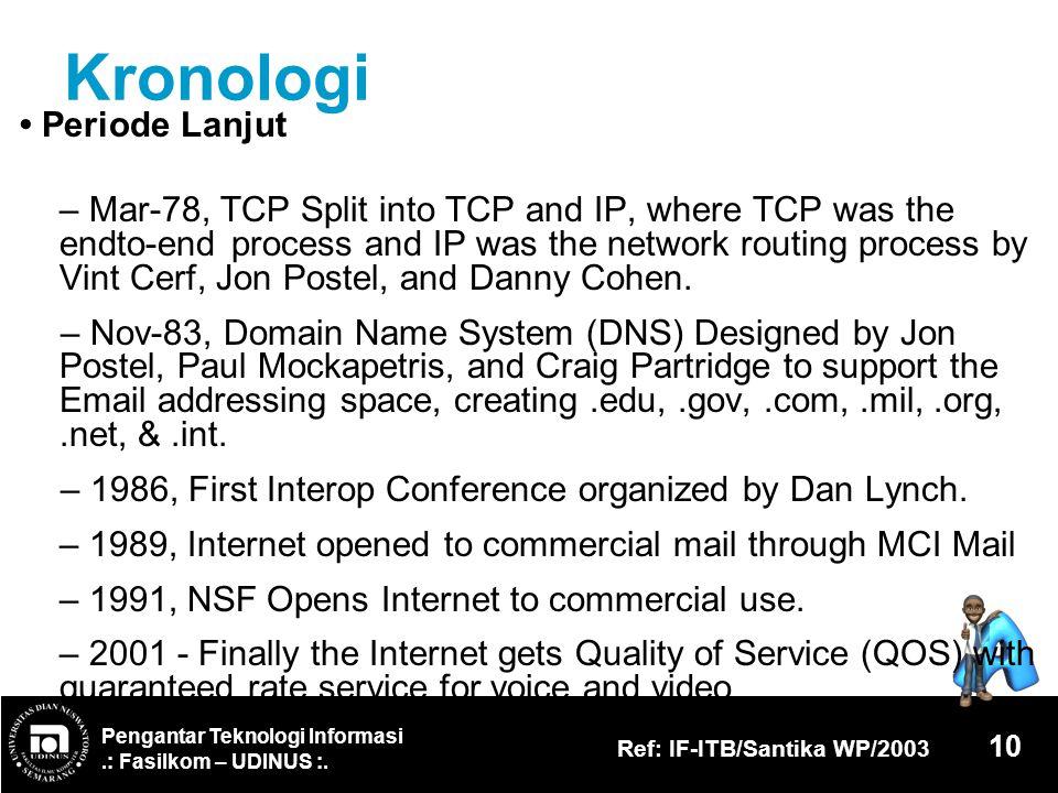 Pengantar Teknologi Informasi.: Fasilkom – UDINUS :. Ref: IF-ITB/Santika WP/2003 10 Kronologi Periode Lanjut – Mar-78, TCP Split into TCP and IP, wher