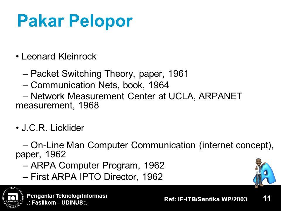 Pengantar Teknologi Informasi.: Fasilkom – UDINUS :. Ref: IF-ITB/Santika WP/2003 11 Pakar Pelopor Leonard Kleinrock – Packet Switching Theory, paper,