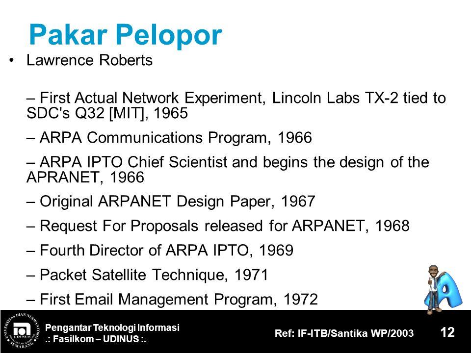 Pengantar Teknologi Informasi.: Fasilkom – UDINUS :. Ref: IF-ITB/Santika WP/2003 12 Pakar Pelopor Lawrence Roberts – First Actual Network Experiment,