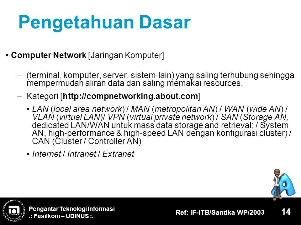 Pengantar Teknologi Informasi.: Fasilkom – UDINUS :. Ref: IF-ITB/Santika WP/2003 14 Pengetahuan Dasar Computer Network [Jaringan Komputer] – (terminal