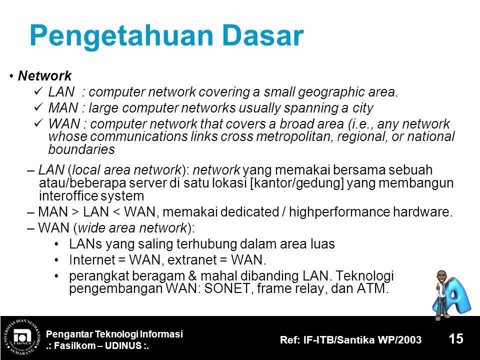 Pengantar Teknologi Informasi.: Fasilkom – UDINUS :. Ref: IF-ITB/Santika WP/2003 15 Pengetahuan Dasar Network LAN : computer network covering a small