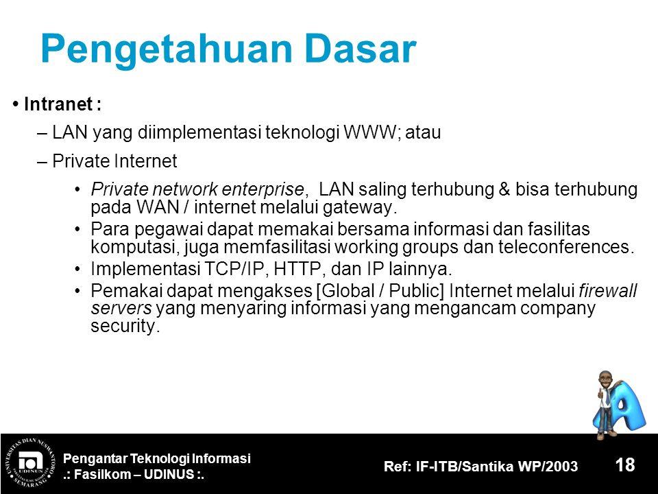 Pengantar Teknologi Informasi.: Fasilkom – UDINUS :. Ref: IF-ITB/Santika WP/2003 18 Pengetahuan Dasar Intranet : – LAN yang diimplementasi teknologi W