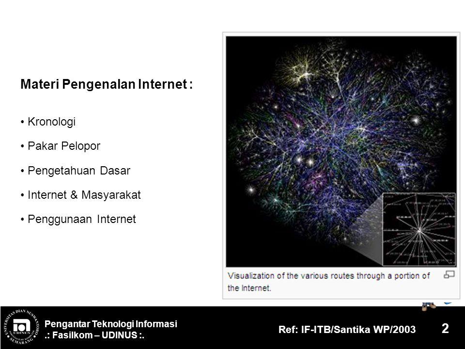 Pengantar Teknologi Informasi.: Fasilkom – UDINUS :. Ref: IF-ITB/Santika WP/2003 2 Materi Pengenalan Internet : Kronologi Pakar Pelopor Pengetahuan Da