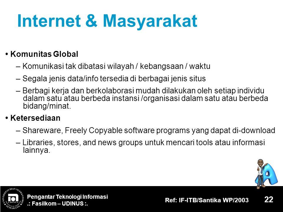 Pengantar Teknologi Informasi.: Fasilkom – UDINUS :. Ref: IF-ITB/Santika WP/2003 22 Internet & Masyarakat Komunitas Global – Komunikasi tak dibatasi w