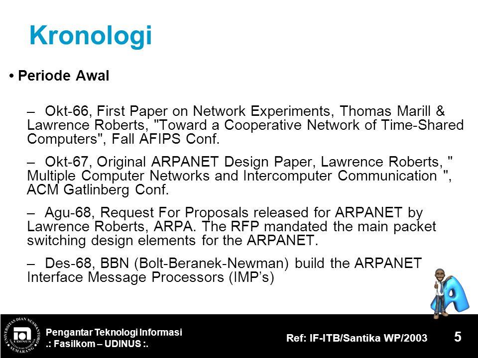 Pengantar Teknologi Informasi.: Fasilkom – UDINUS :. Ref: IF-ITB/Santika WP/2003 5 Kronologi Periode Awal – Okt-66, First Paper on Network Experiments