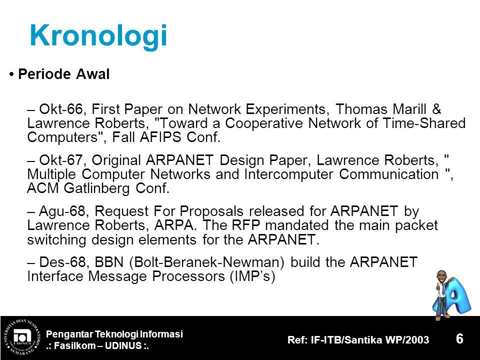 Pengantar Teknologi Informasi.: Fasilkom – UDINUS :. Ref: IF-ITB/Santika WP/2003 6 Kronologi Periode Awal – Okt-66, First Paper on Network Experiments