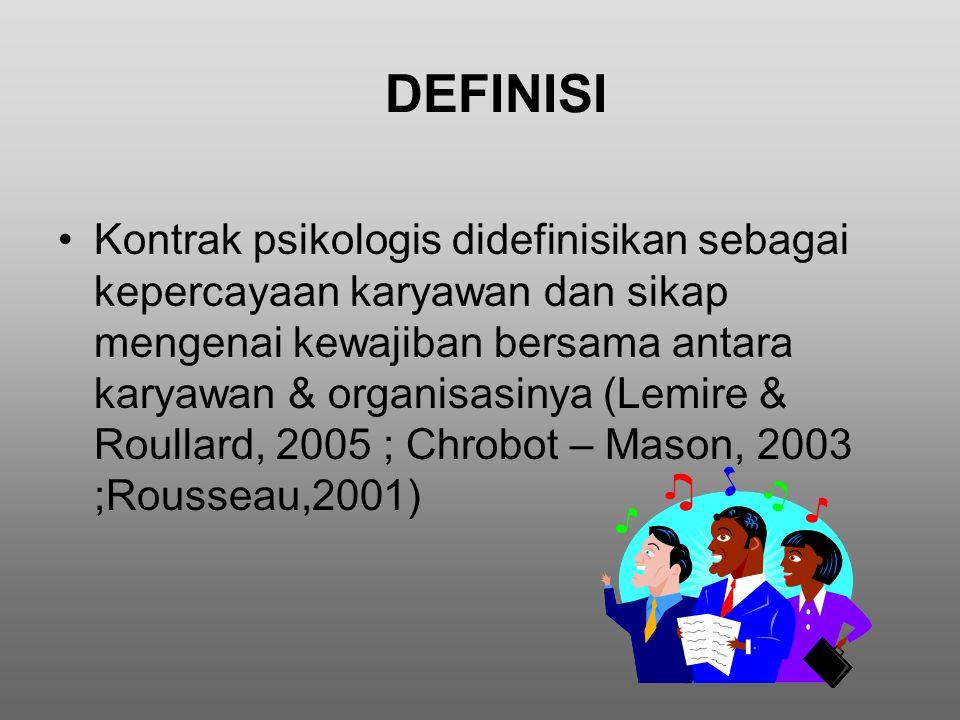 DEFINISI Kontrak psikologis didefinisikan sebagai kepercayaan karyawan dan sikap mengenai kewajiban bersama antara karyawan & organisasinya (Lemire &