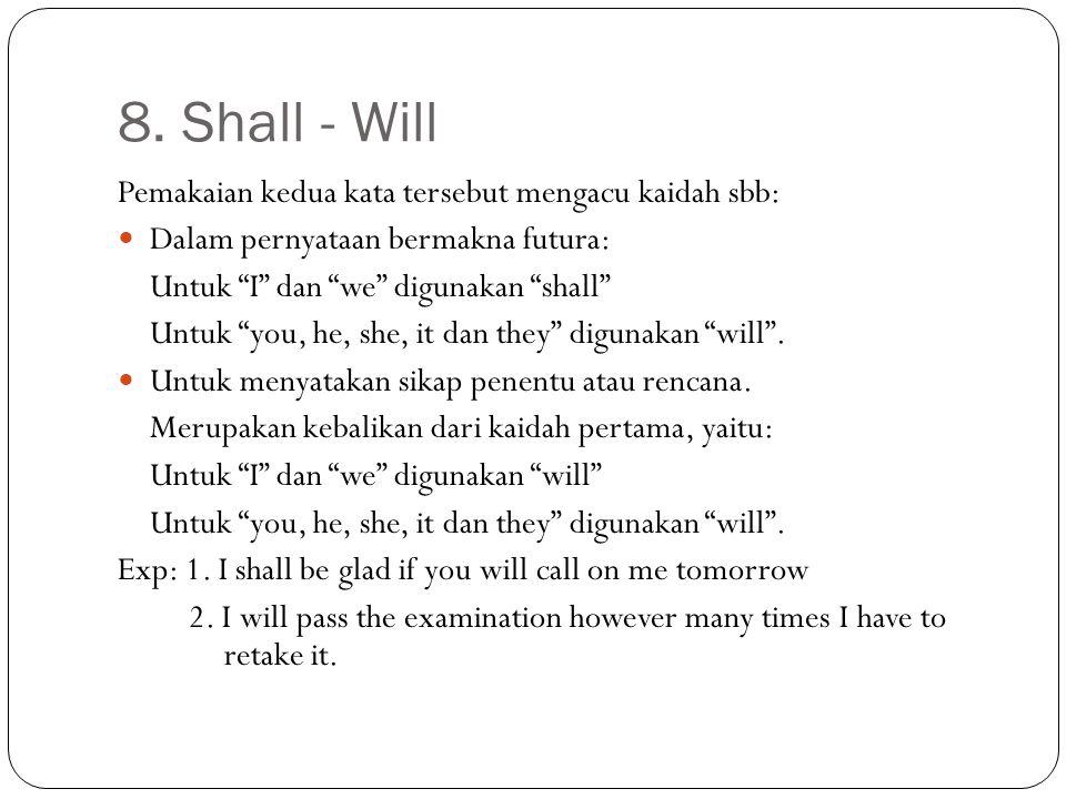 """8. Shall - Will Pemakaian kedua kata tersebut mengacu kaidah sbb: Dalam pernyataan bermakna futura: Untuk """"I"""" dan """"we"""" digunakan """"shall"""" Untuk """"you, h"""