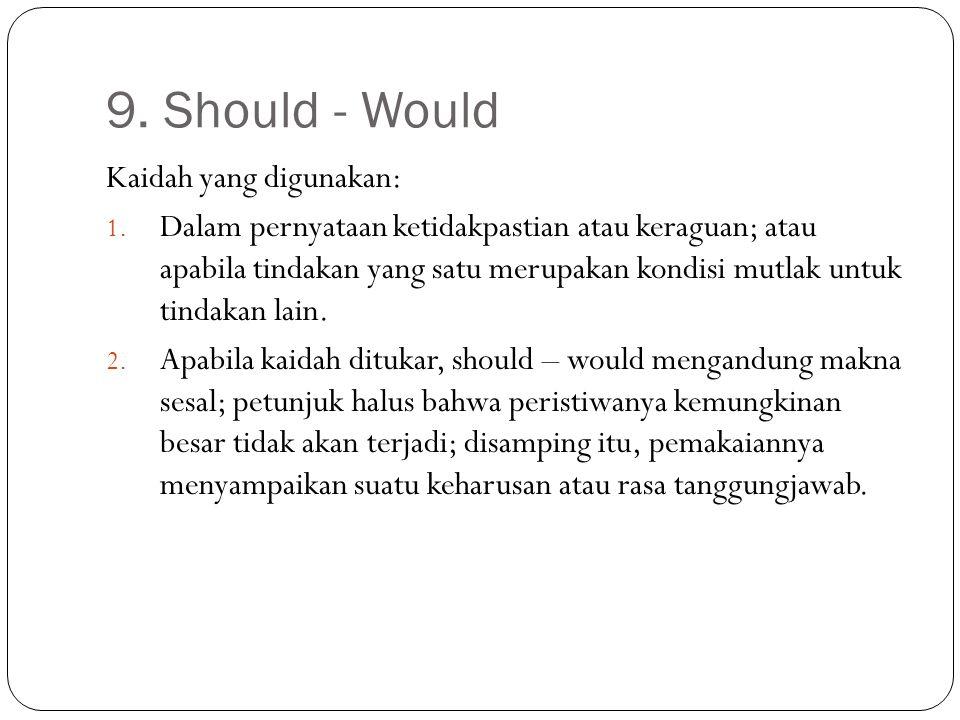 9. Should - Would Kaidah yang digunakan: 1. Dalam pernyataan ketidakpastian atau keraguan; atau apabila tindakan yang satu merupakan kondisi mutlak un