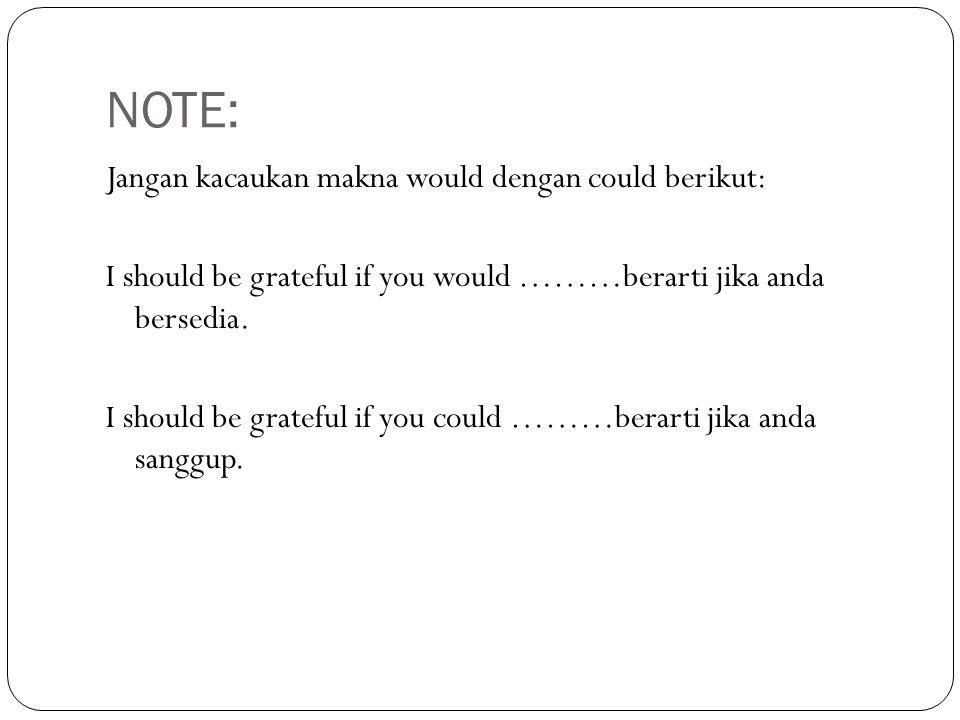 NOTE: Jangan kacaukan makna would dengan could berikut: I should be grateful if you would ………berarti jika anda bersedia.