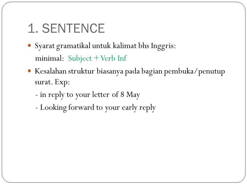 1. SENTENCE Syarat gramatikal untuk kalimat bhs Inggris: minimal: Subject + Verb Inf Kesalahan struktur biasanya pada bagian pembuka/penutup surat. Ex