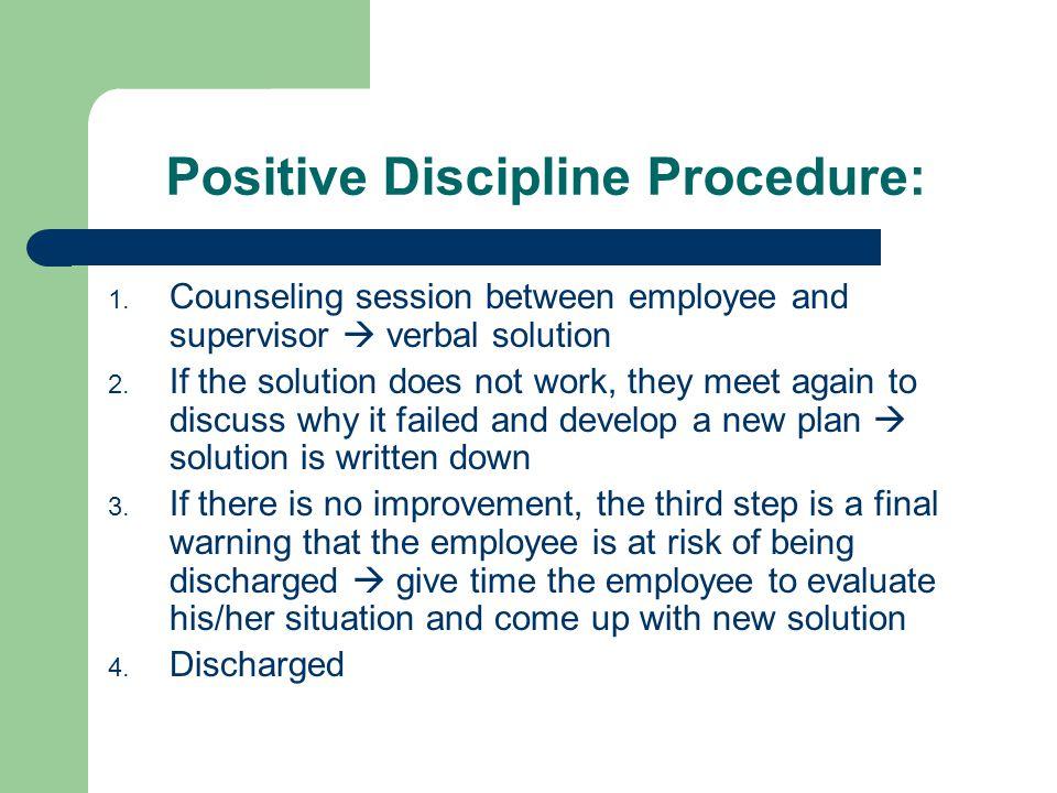 Positive Discipline Procedure: 1.