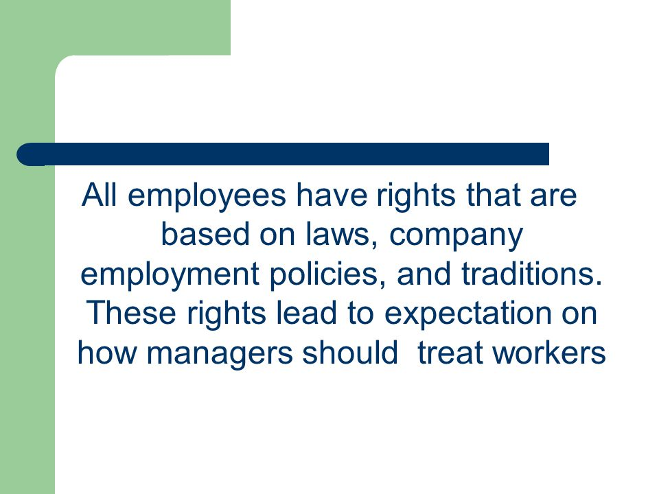 The Managerial Perspective Managers who respect employees' rights will get: – Employee with high level of moral – Employee job satisfaction