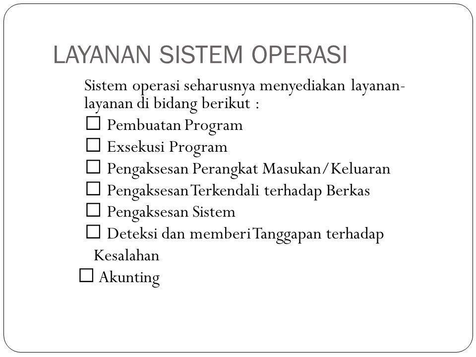 JENIS-JENIS SISTEM OPERASI Jenis Sistem Operasi dapat dibedakan dari aspek:  Ukuran (media yang digunakan) disket  DOS; CD  Linux Live-CD; Mainframe, Server, PC, PDA, mobile phone, dll.