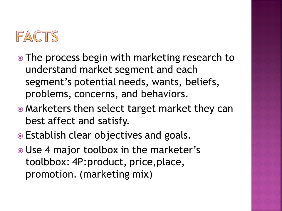  The process begin with marketing research to understand market segment and each segment's potential needs, wants, beliefs, problems, concerns, and behaviors.