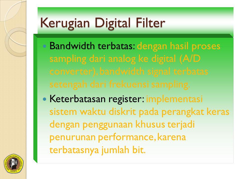 Kerugian Digital Filter Bandwidth terbatas: dengan hasil proses sampling dari analog ke digital (A/D converter), bandwidth signal terbatas setengah da