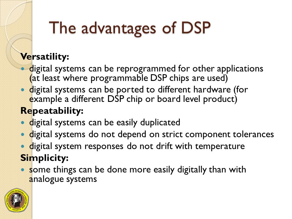 A real DSP system suffers from three sources of error due to limited word length in the measurement and processing of the signal: limited precision due to word length when the analogue signal is converted to digital form errors in arithmetic due to limited precision within the processor itself limited precision due to word length when the digital samples are converted back to analogue form These errors are often called quantization error