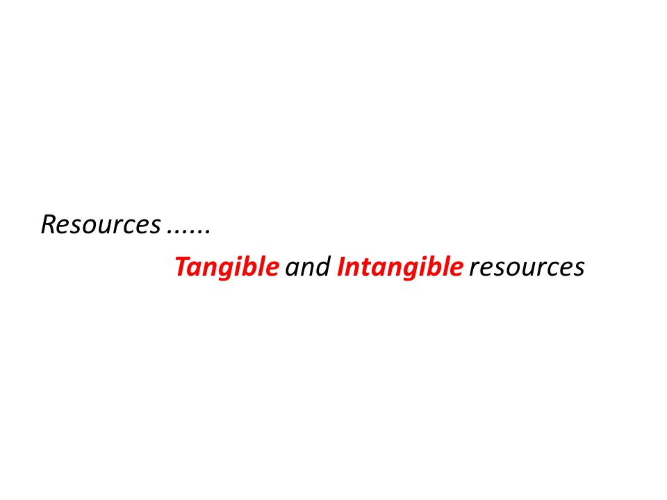 Resources...... Tangible and Intangible resources