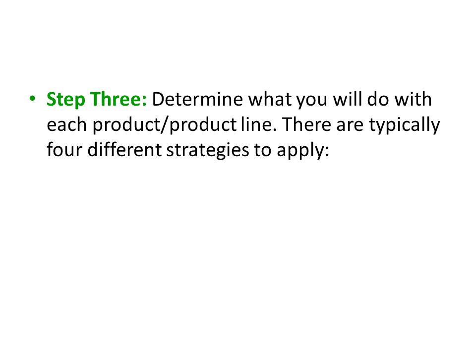 Step Three: Determine what you will do with each product/product line. There are typically four different strategies to apply:
