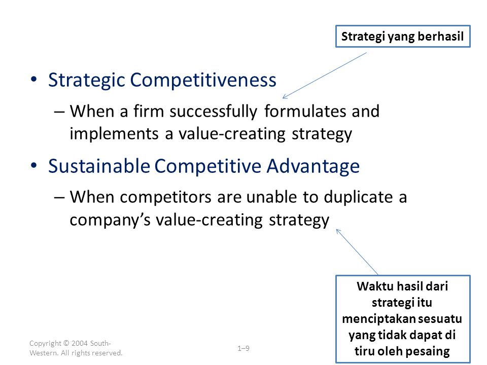 Copyright © 2004 South- Western. All rights reserved. 1–9 Strategic Competitiveness – When a firm successfully formulates and implements a value-creat