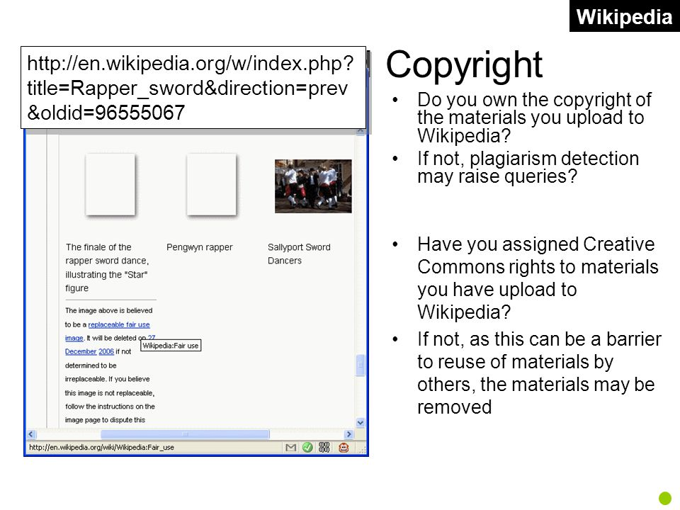 Wikipedia and Copyright Do you own the copyright of the materials you upload to Wikipedia.