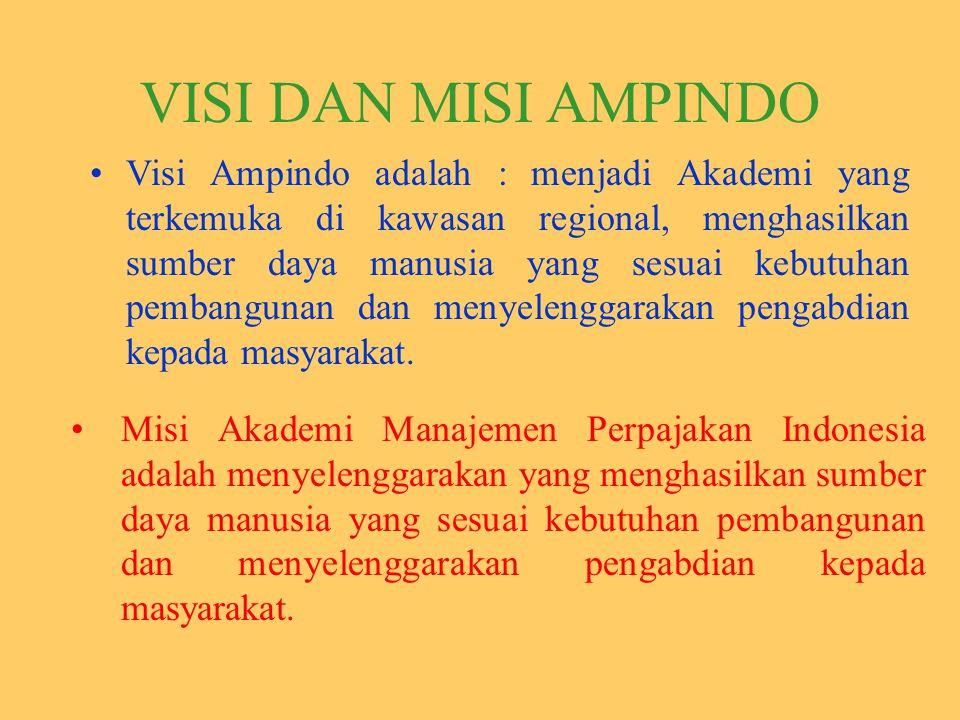 VISI DAN MISI AMPINDO Visi Ampindo adalah : menjadi Akademi yang terkemuka di kawasan regional, menghasilkan sumber daya manusia yang sesuai kebutuhan