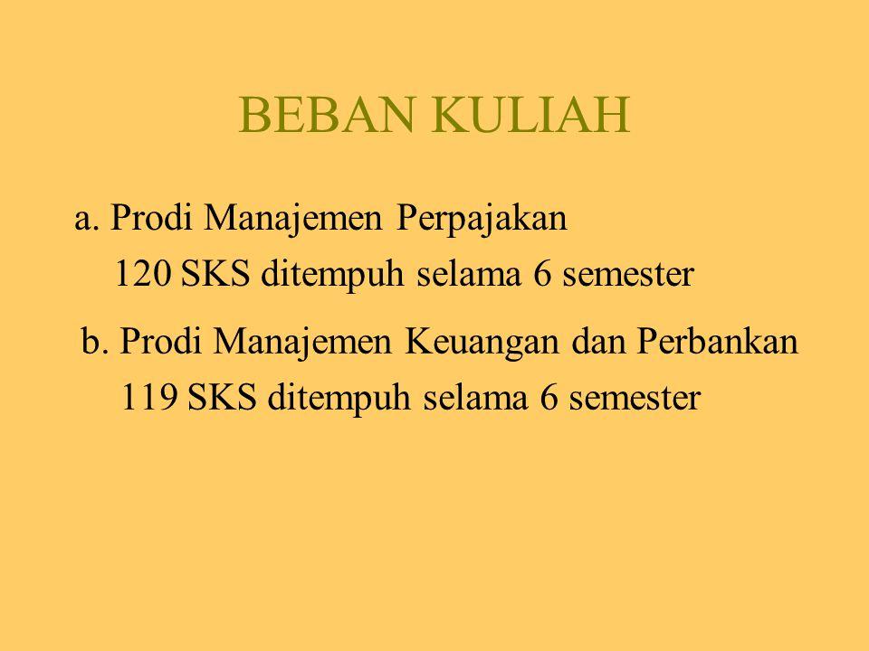 BEBAN KULIAH a. Prodi Manajemen Perpajakan 120 SKS ditempuh selama 6 semester b. Prodi Manajemen Keuangan dan Perbankan 119 SKS ditempuh selama 6 seme