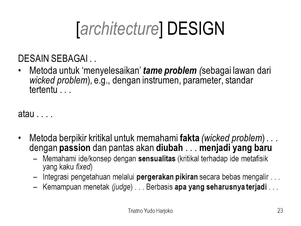 Triatno Yudo Harjoko23 [ architecture ] DESIGN DESAIN SEBAGAI..
