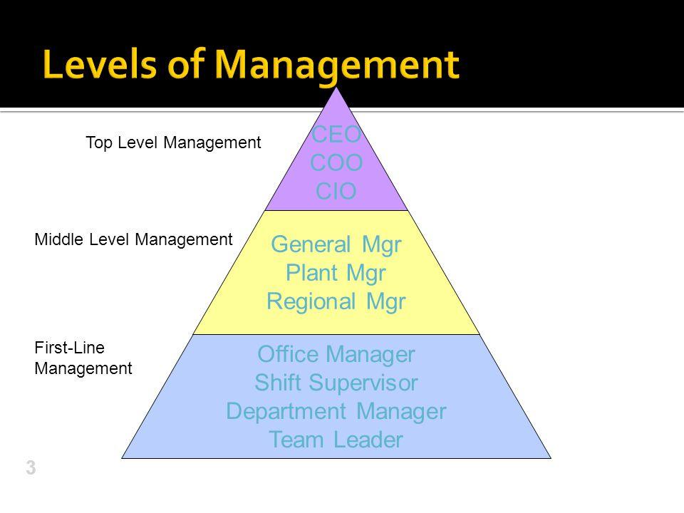 3 Top Level Management Middle Level Management First-Line Management CEO COO CIO General Mgr Plant Mgr Regional Mgr Office Manager Shift Supervisor Department Manager Team Leader