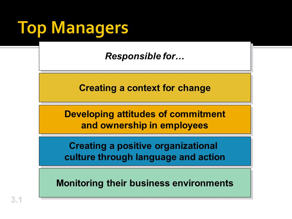 3.1 Responsible for… Creating a context for change Developing attitudes of commitment and ownership in employees Creating a positive organizational culture through language and action Monitoring their business environments