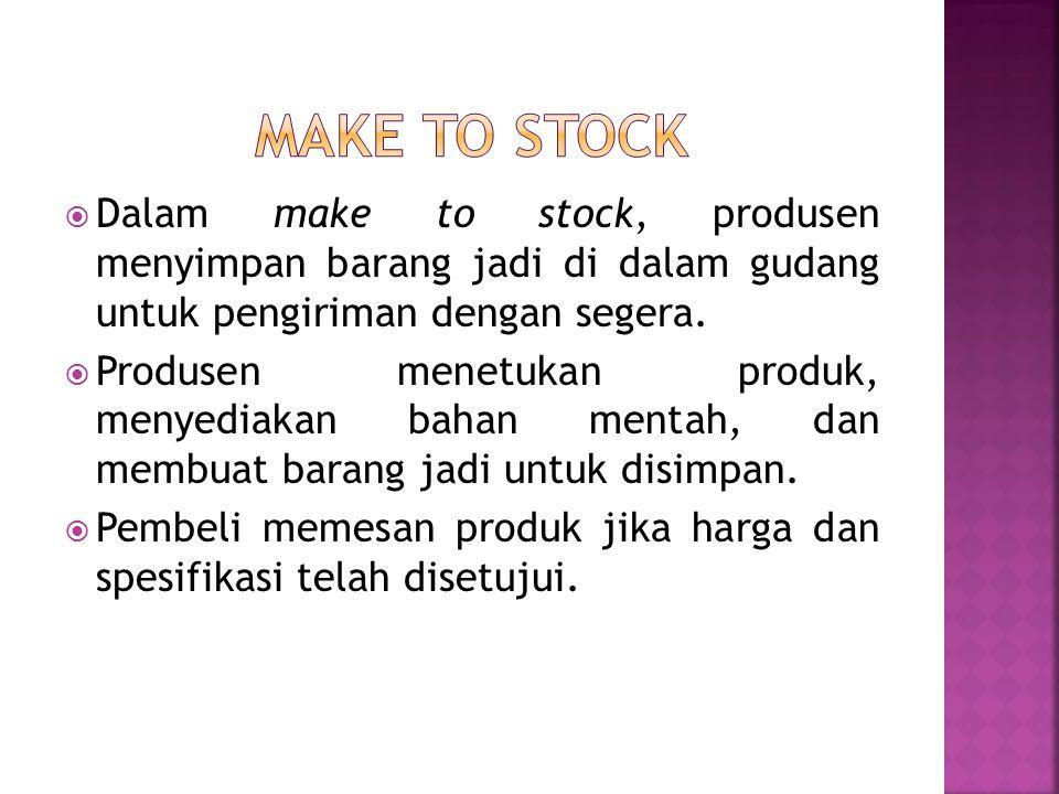  Dalam make to stock, produsen menyimpan barang jadi di dalam gudang untuk pengiriman dengan segera.  Produsen menetukan produk, menyediakan bahan m