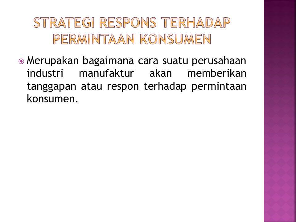  Merupakan bagaimana cara suatu perusahaan industri manufaktur akan memberikan tanggapan atau respon terhadap permintaan konsumen.