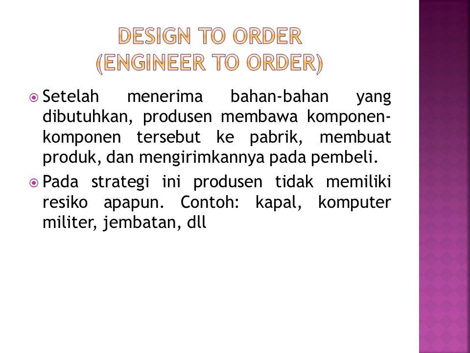  Setelah menerima bahan-bahan yang dibutuhkan, produsen membawa komponen- komponen tersebut ke pabrik, membuat produk, dan mengirimkannya pada pembel