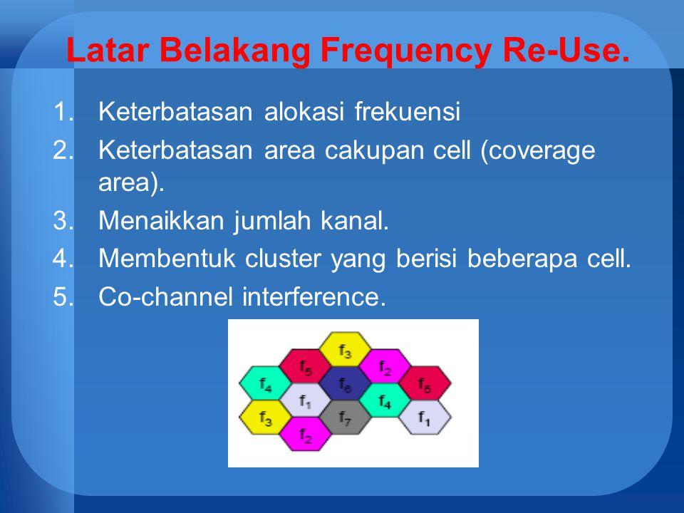 Latar Belakang Frequency Re-Use. 1.Keterbatasan alokasi frekuensi 2.Keterbatasan area cakupan cell (coverage area). 3.Menaikkan jumlah kanal. 4.Memben