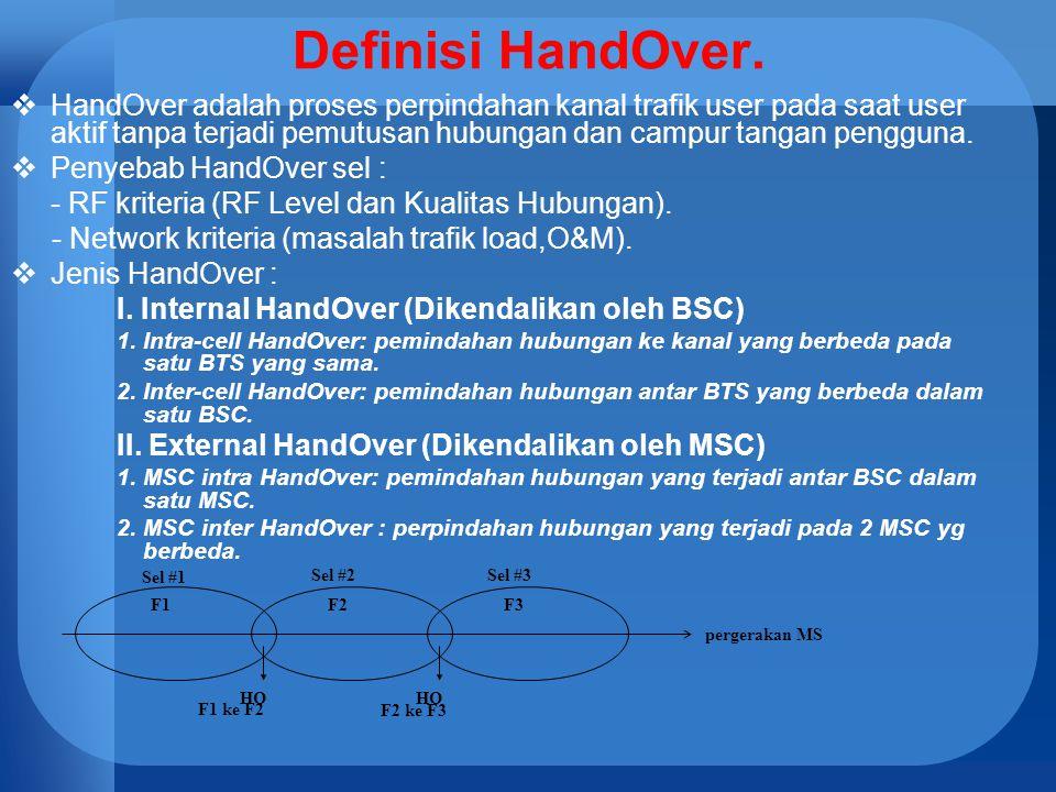 Definisi HandOver.  HandOver adalah proses perpindahan kanal trafik user pada saat user aktif tanpa terjadi pemutusan hubungan dan campur tangan peng